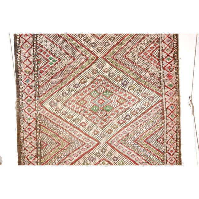 Great handwoven vintage collector Moroccan tribal runner rug. Intricate geometric designs on flat-weave Kilim style rug,...
