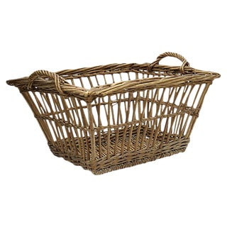Antique French Large Laundry Basket For Sale