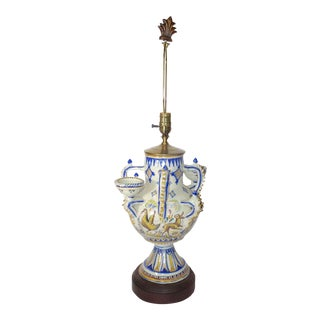 Delft Blue and White Vase Made Into a Table Lamp on Wood Base For Sale