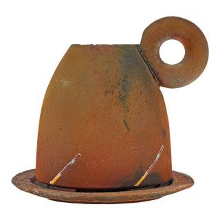 Karl Borgeson Signed Raku Pottery Teacup and Saucer For Sale
