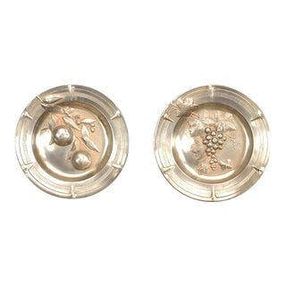 French Victorian Pewter Round Wall Plates - a Pair For Sale