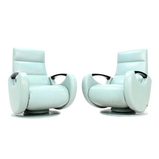 Space Age Design Mid Century Modern Leather Recliner Lounge Chairs - a Pair For Sale