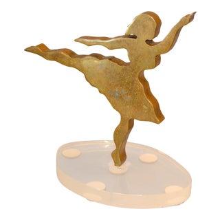 Signed Mid-Century Modern Solid Bronze Ballerina Dancer Sculpture Lucite Base For Sale