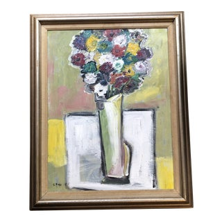 Original Contemporary Stewart Ross Modernist Abstract Still Life Painting Vintage Frame For Sale