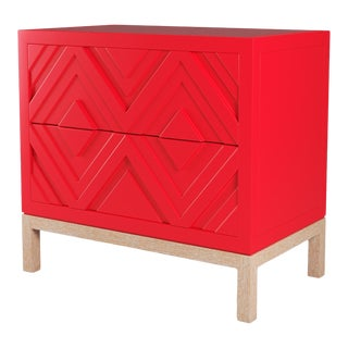 Susana Side Table - Bull's Eye Red, Natural Cerused Oak For Sale