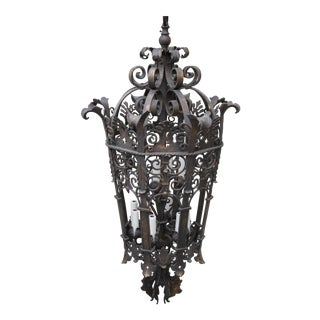 Wrought Iron Six Light Lantern For Sale