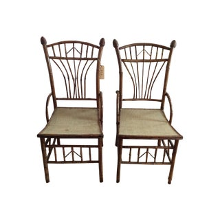 English Bamboo & Rattan Chairs - a Pair