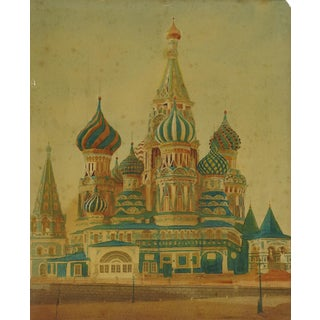 St. Basil's Cathedral Moscow Hand Tinted Photograph For Sale