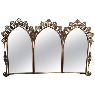 French Polished Brass Triple Mirror With Decorative Jewels, 19th Century For Sale