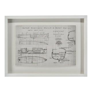Wood Motor Boat Grey Blueprint Coastal Decor For Sale