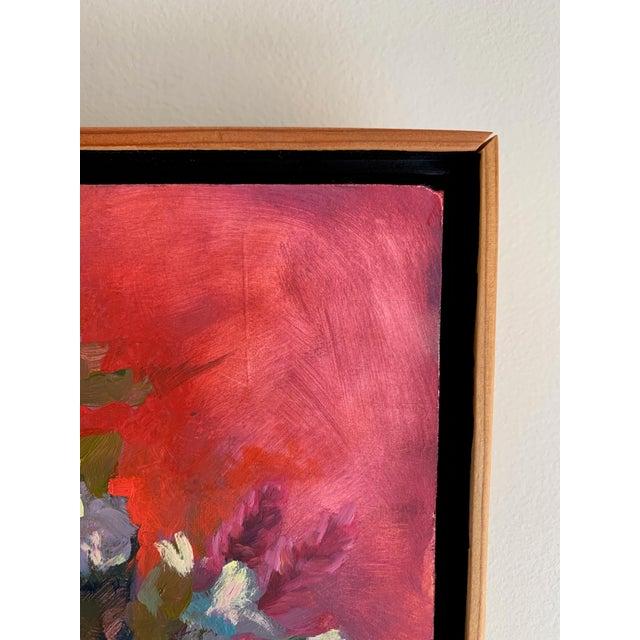 This striking red painting was created in my Warwick NY studio, from life. Looking down at a bouquet on red cloth. I...