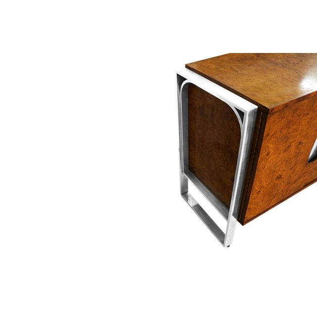 Mid Century Burl Walnut Brushed Chrome Sideboard Buffet Pace Collection For Sale - Image 9 of 11