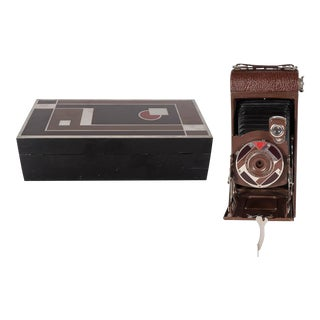 Important Art Deco Enamel and Chrome Box Fitted Camera by Walter Dorwin Teague For Sale