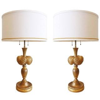 Pair of Gilt Plume Lamps by Frederick Cooper For Sale