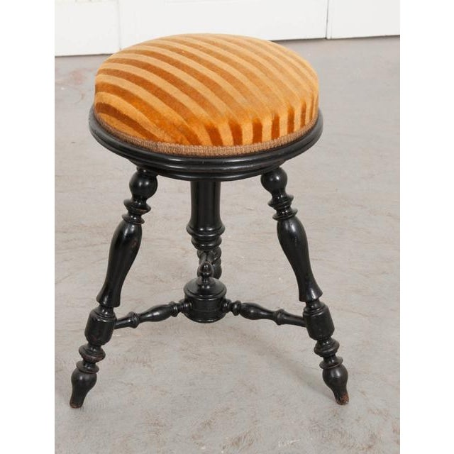 Black Early 20th Century French Ebonized Piano Stool For Sale - Image 8 of 10