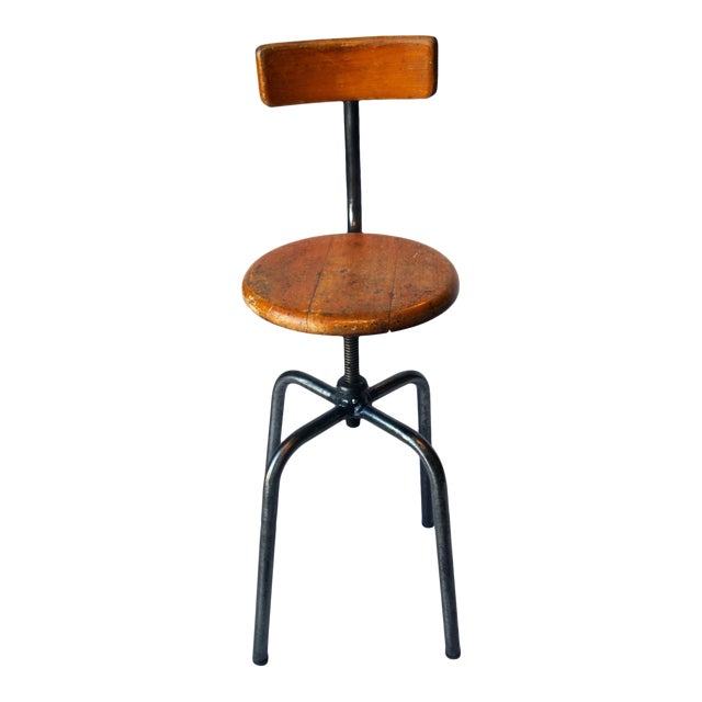French Industrial Wood & Metal Chair - Image 1 of 9