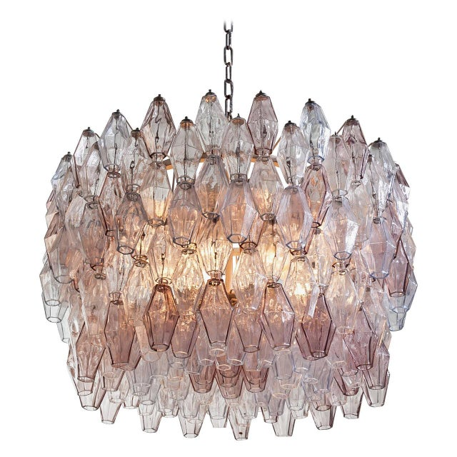 Pair of Carlo Scarpa Extra Large 245 Murano Glass Pieces 'Poliedri' Chandeliers For Sale - Image 10 of 10