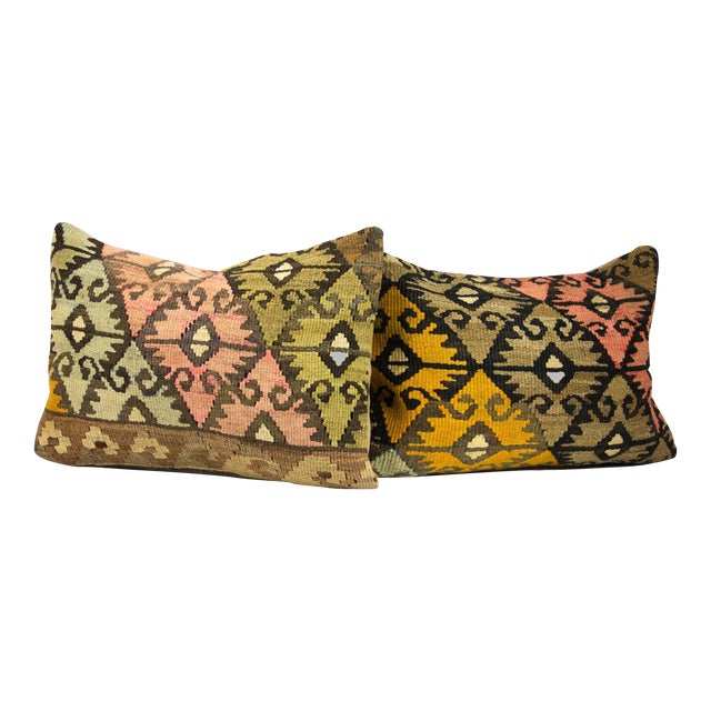 Vintage Lumbar Kilim Pillows - Pair - Image 1 of 3