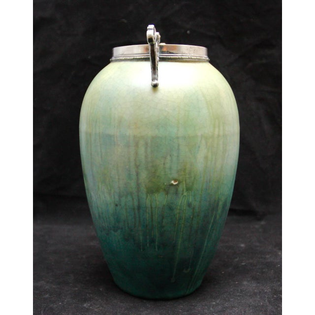 French Art Nouveau Cucumber Glaze Urn With Sterling Rim and Handles Attributed to Eugene Baudin - Image 3 of 8
