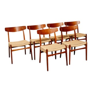 Ch23 Teak and Oak Dining Chairs by Hans Wegner For Sale