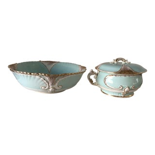 Antique Washbowl Set 2-Piece Robins Egg Blue For Sale