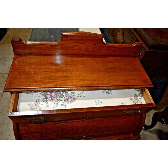 Wood Antique Oak Drum Roll Top Desk For Sale - Image 7 of 11