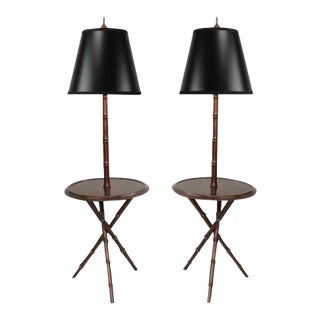 Pair of Chinese Chippendale Faux Bamboo Floor Lamp End Tables Tripod Wood Vintage For Sale