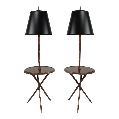 Pair of Chinese Chippendale Faux Bamboo Floor Lamp End Tables Tripod Wood Vintage - Image 1 of 11
