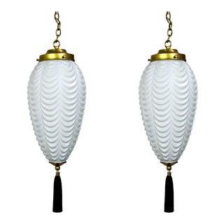 Vintage Glass Drape Pendants With Tassels (Pair) For Sale
