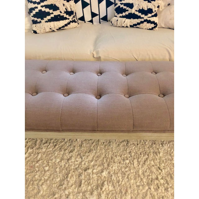 Traditional Modern Upholstered Tufted Bench For Sale - Image 3 of 9