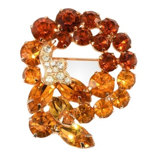 Unmarked Amber Orange Rhinestone Brooch Pin Vintage Like Weiss For Sale