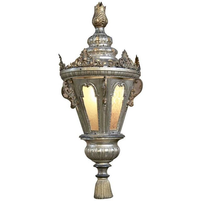 19th Century Venetian Silvered Brass Lantern Chandelier For Sale - Image 9 of 9