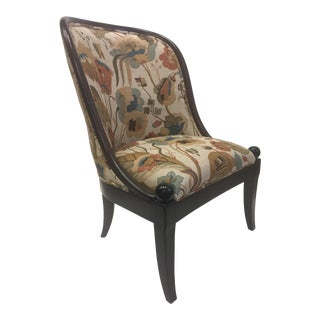 Modern Baker Walnut and Tapestry Accent Chair For Sale
