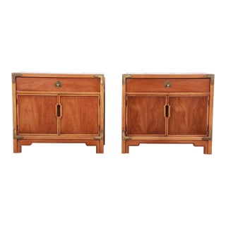 Drexel Hollywood Regency Walnut Nightstands-a Pair For Sale