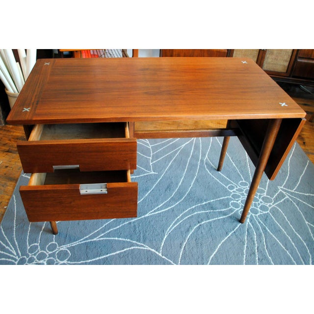 Mid Century American of Martinsville Walnut Drop Leaf Desk - Image 3 of 10