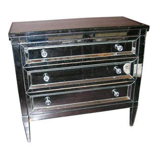 Custom Mirrored Dresser with Beveled Edges For Sale