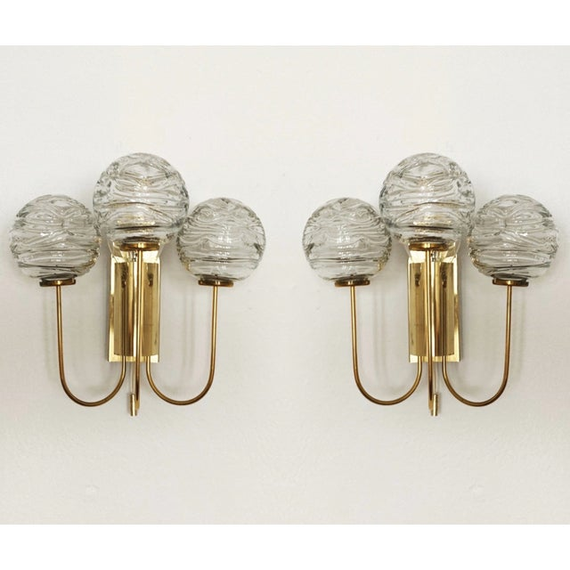 Brass Set of 2 Mid-Century Modern Brass and Ice Glass Wall Sconces by Doria For Sale - Image 8 of 8