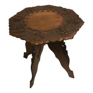Moorish Folding Carved Walnut Side Table For Sale