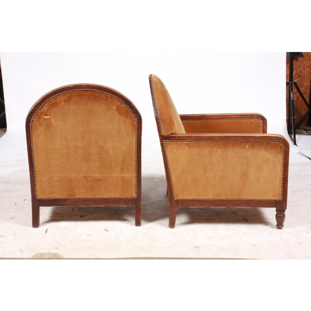 Brown 1940s Art Deco-Style Club Chairs Pair For Sale - Image 8 of 10
