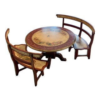 Brazil Baroque Table Rounded Benches - 3 Pieces For Sale