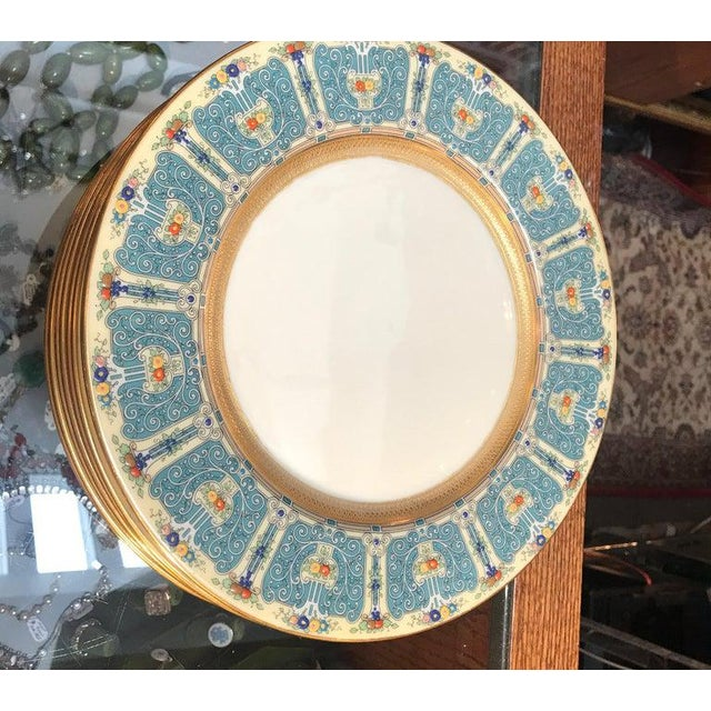 Hand Enameled Blue and Gold Dinner Service Plates - Set of Eleven For Sale - Image 10 of 12