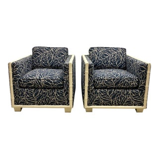 Pair of Hollywood Regency Faux Bamboo Club Chairs For Sale