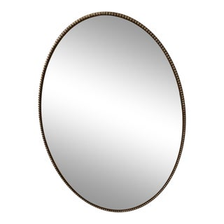 Mid Century Oval Brushed Nickel Silver Mirror With Beaded Edge For Sale