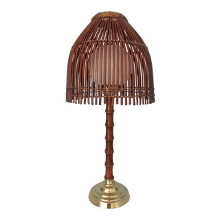 Vintage Faux Bamboo Lamp With Rattan Shade For Sale