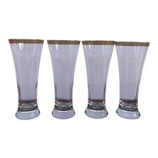 Crystal Pilsner Glasses With Ornate Wide Gold Rims - Set of 4 For Sale