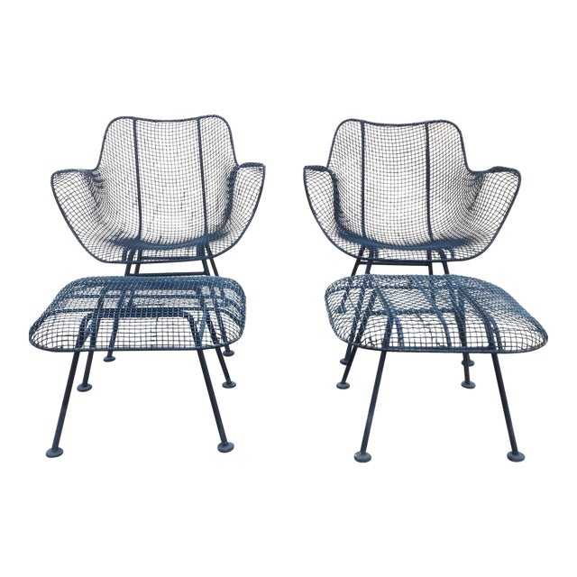 Russell Woodard Wire Chairs & Ottoman - Pair - Image 1 of 6