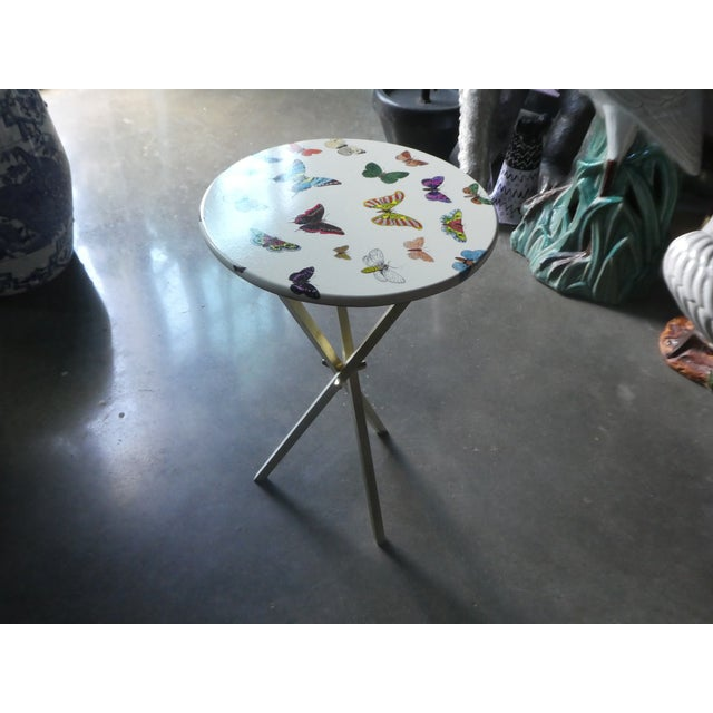 Metal 1960s Mid-Century Modern Fornasetti Butterfly Side Table For Sale - Image 7 of 9