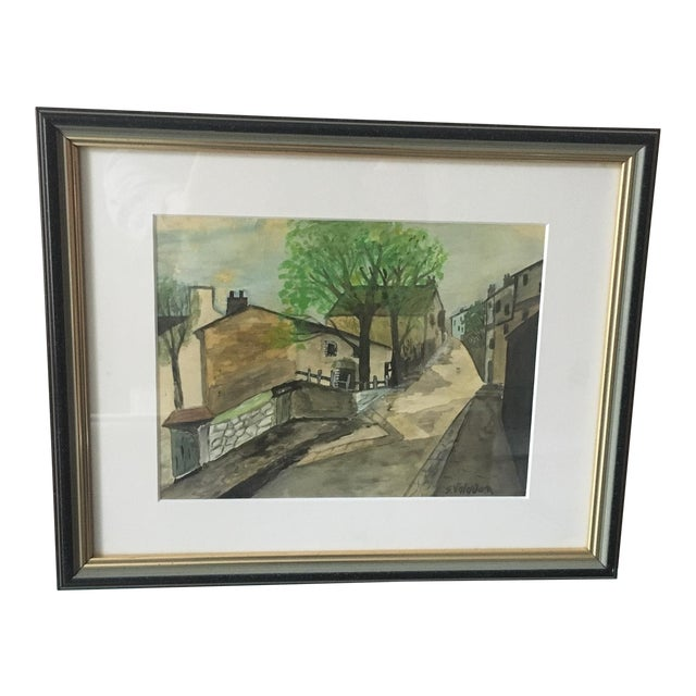 """Impressionist """"Village"""" Watercolor Painting For Sale"""