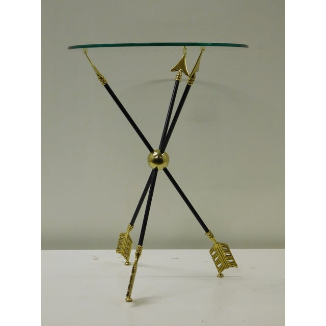 Vintage Iron & Brass Arrow Bouillotte Drinks Lamp Table For Sale In South Bend - Image 6 of 8
