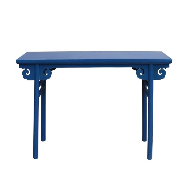 Wood Chinese Scroll Apron Rustic Blue Altar Console Table For Sale - Image 7 of 7